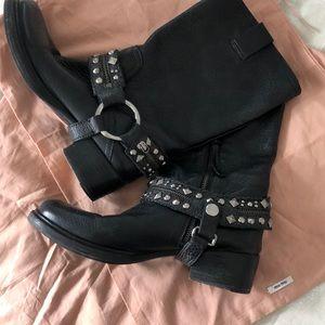 Miu Miu Black Biker Boots - Pebbled Leather